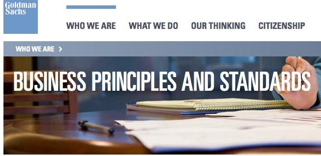 Goldman Sachs:Code of Ethics Post-2008
